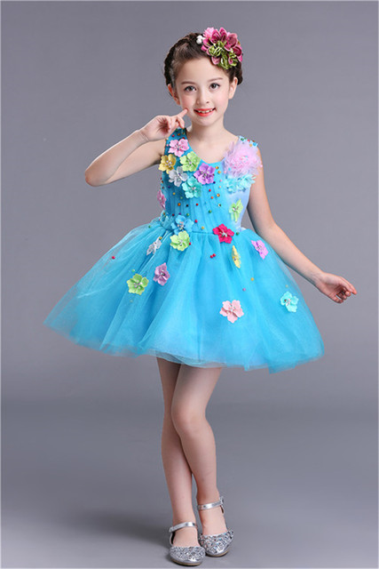 Flowers Applique Kids Cute Prom Dresses for Kids 2018 Green Pink Red ...