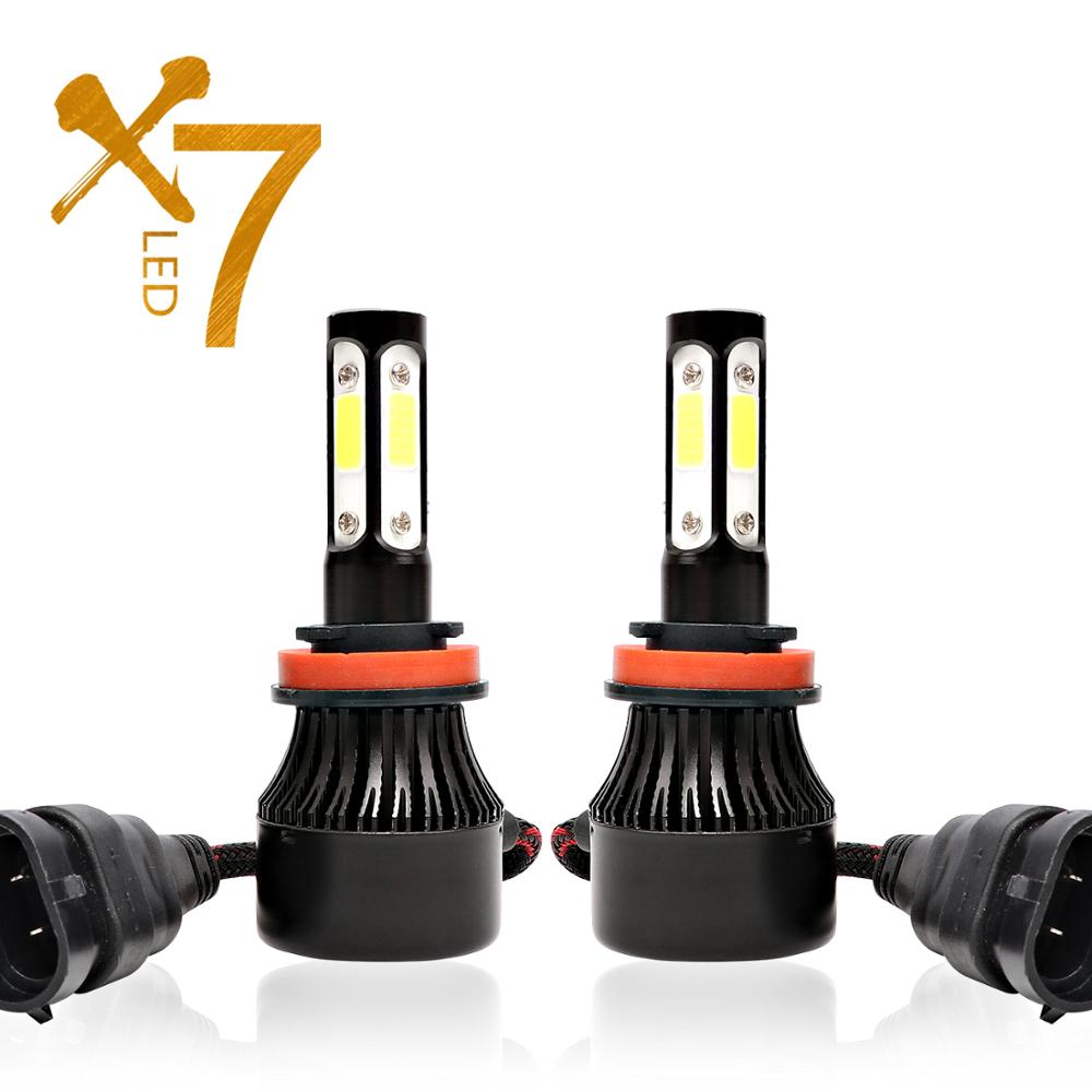 4 Sides Luces <font><b>Led</b></font> H4 H7 <font><b>H11</b></font> <font><b>LED</b></font> <font><b>Headlight</b></font> <font><b>Bulb</b></font> para Auto Car Lights HB4 H13 9004 9005 9006 9007 Lamp 100W 12000Lm 6500K 12V image