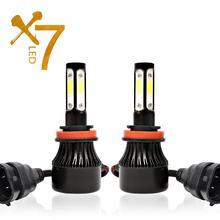 4 lados luces led h4 h7 h11 conduziu a lâmpada do farol para luzes do carro automóvel hb4 h13 9004 9005 9006 9007 lâmpada 100 w 12000lm 6500 k 12 v