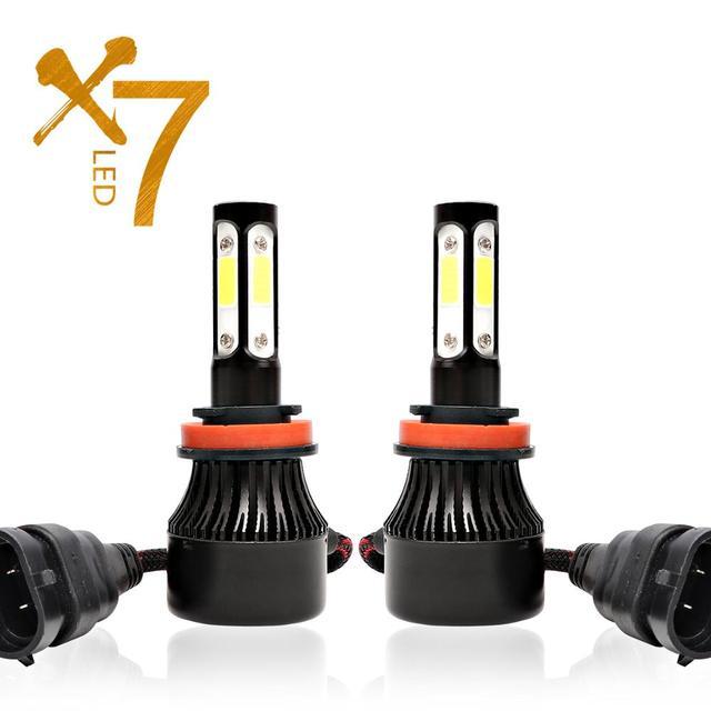 مصباح أمامي Led 4 جوانب H4 H7 H11 لمبة إضاءة ليد لمبة سيارة HB4 H13 9004 9005 9006 9007 مصباح 100W 12000Lm 6500K 12V