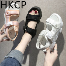 HKCP Sandals Womens Summer 2019 New Sports Muffin Shoes Korean Open Toe Key Thick-soled Slope-heeled C180