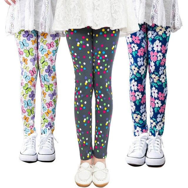 Детские хлопковые брюки Леггинсы для маленьких девочек детская с цветочным принтом для малышей Леггинсы для женщин для девочек обтягивающие Детские Мотобрюки Леггинсы для женщин