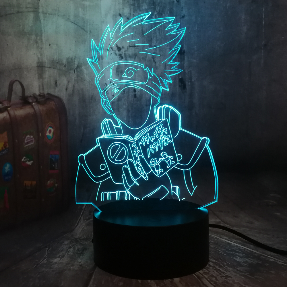 Naruto Anime Hatake Kakashi Uzumaki 3D LED Night Light USB Table Sleep Lamp Home Decor Child Boy Kid Toys Holiday Christmas Gift