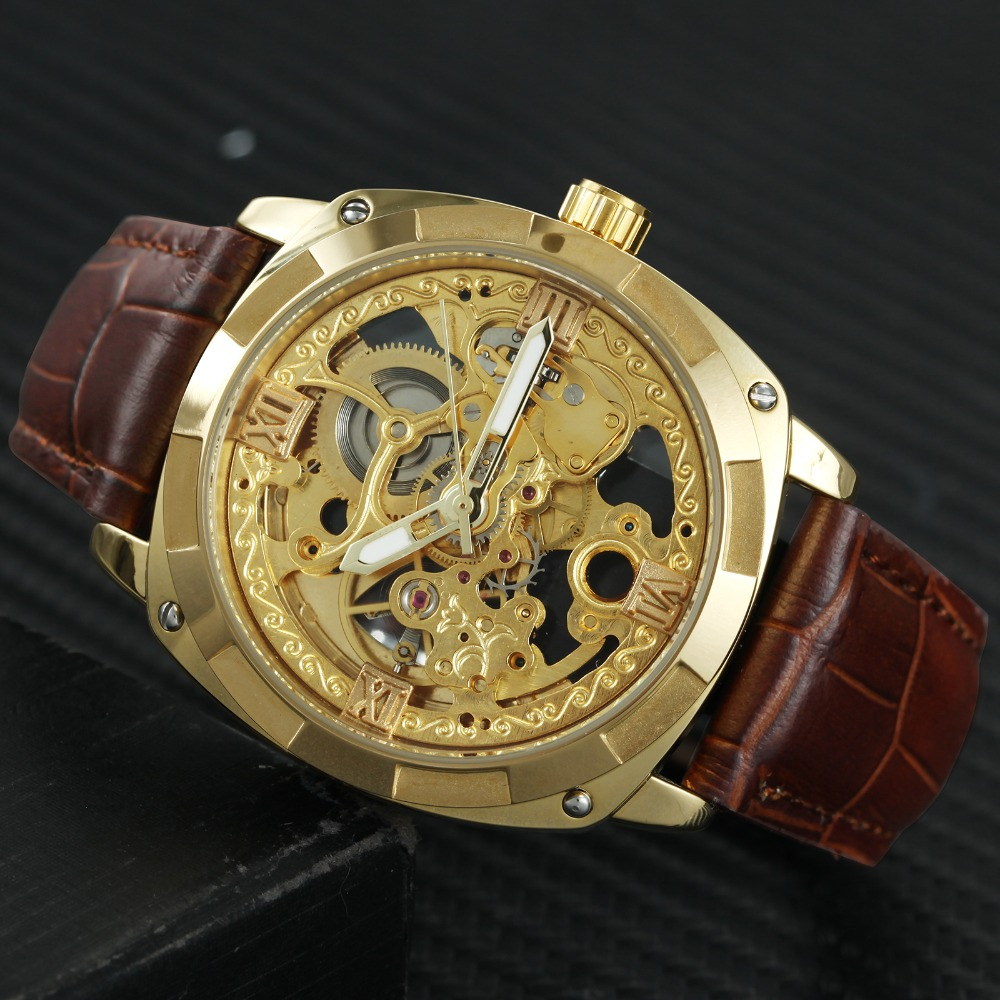 FORSINING Royal Golden Tonneau Auto Mechanical Watch Men Brown Leather Strap Skeleton Carved Dial Top Brand Luxury Wristwatches 2018 forsining mens watches top brand luxury auto mechanical watch black leather strap skeleton dial fashion casual wristwatches