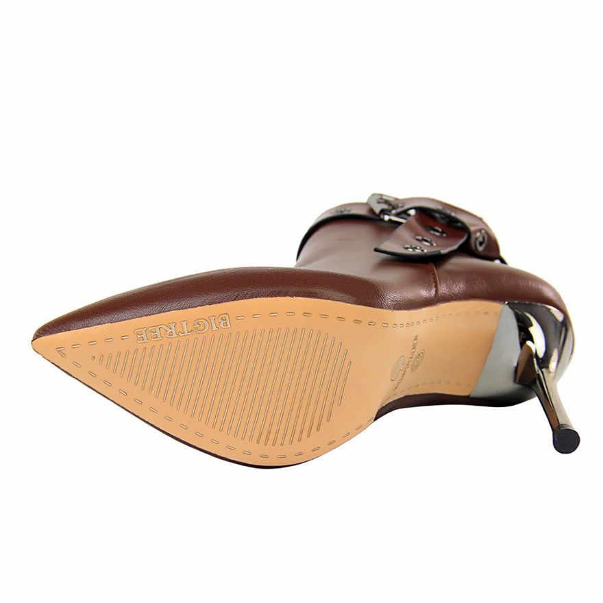 Retro Kemer Toka sivri burun martin çizmeler Kadınlar Için Moda Deri Topuklu yarım çizmeler Kadın Ayakkabı Kış 2019 Yeni Yüksek topuklu ayakkabılar