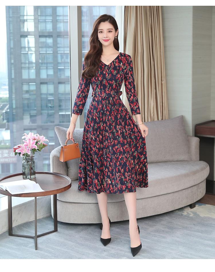 Autumn Winter New 3XL Plus Size Vintage Midi Dresses 2018 Women Elegant Bodycon Floral Dress Party Long Sleeve Runway Vestidos 26