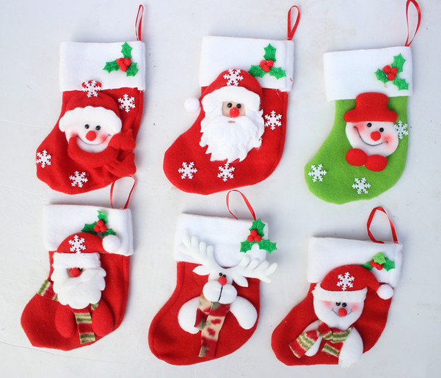 Free Shipping 15cm Height Christmas Gift Socks Christmas Tree Decoration Cute Christmas Supplies Free Drop Shipping Wholesale