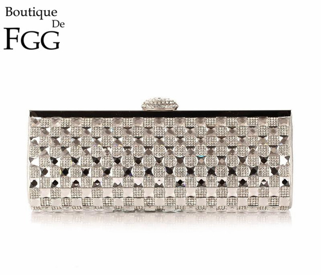 Women's Wedding Dress Hot Fixed Plaid Silver Crystal Evening Purse Metal Frame Party Prom Cocktail Rhinestones Handbag Clutch