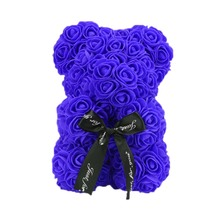 Artificial Roses Bear Flower 25 Cm Valentines Day Gift Rose Teddy Bears Holiday Wedding Flowers Party Decoration