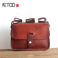 AETOO Retro clay bag head layer of tree cream leather bag head layer of cowhide handbags leather school of the Department of sho