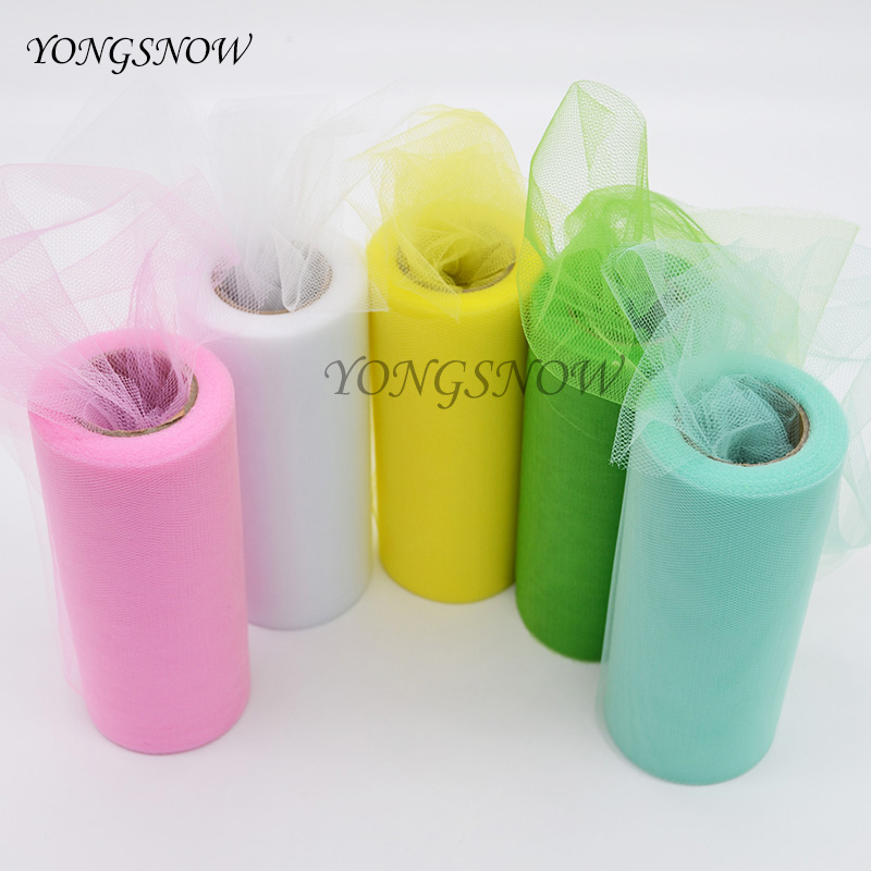1Pcs 6 Inch * 25 Yards Colorful Tissue Tulle Paper Roll Wedding Party Decoration DIY Crafts Roll Spool 100% Polyester 8Z