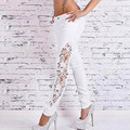 2016 New Style Women Slim Jeans Trousers White Casual Hollow Out Lace Patchwork Pencil Jeans TS12