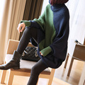 [XITAO] 2016 autumn and winter women new knitted sweaters in the long irregular loose contrast color turtleneck sweater YDY012
