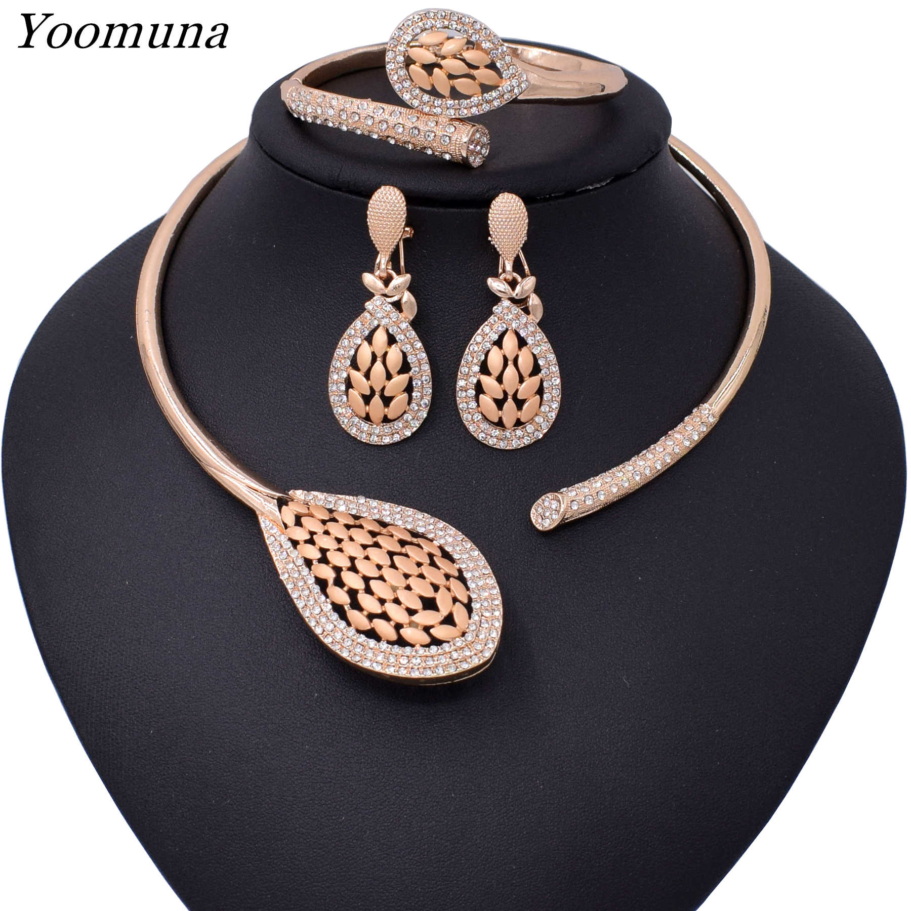 2019 African Beads Jewelry Set Nigerian Wedding Gold Color Long Necklace Jewellery Sets For Women Luxury Dubai Jewelry Sets
