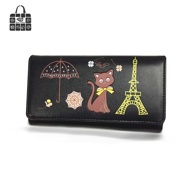 Fashion female bag lovely cartoon Cat lady PU Leather Long Wallets Women Handbags Cash Purse Card Holder 4 color Free shipping 2017 new arrival fashion women wallet bag lady bags purse long bags pu handbags card holder high quality free shipping