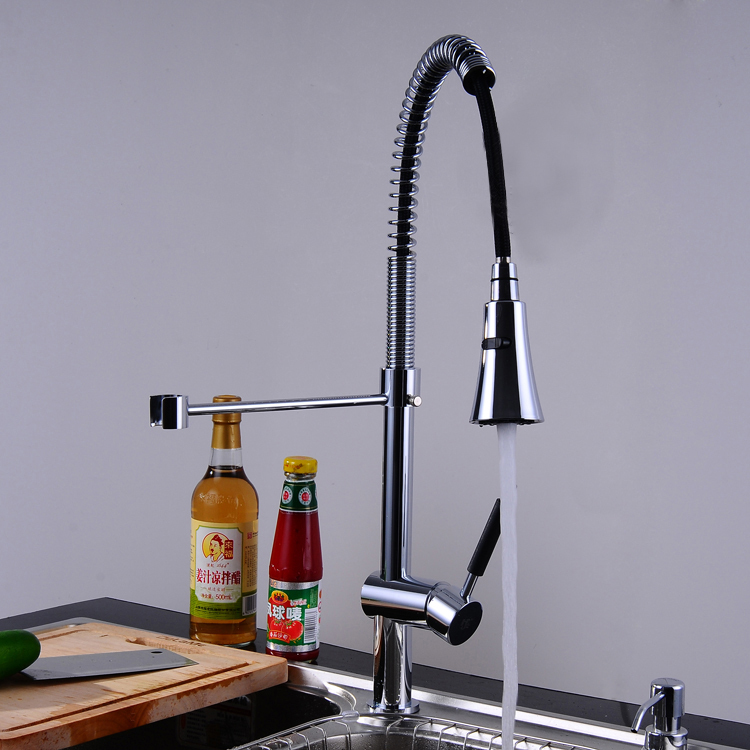 CH-8808-1 Brass Kitchen Faucet Luxury Chrome Pull out Spray Swivel Sink Kitchen Tap Spout Dispenser Free shipping free shipping high quality chrome brass kitchen faucet single handle sink mixer tap pull put sprayer swivel spout faucet