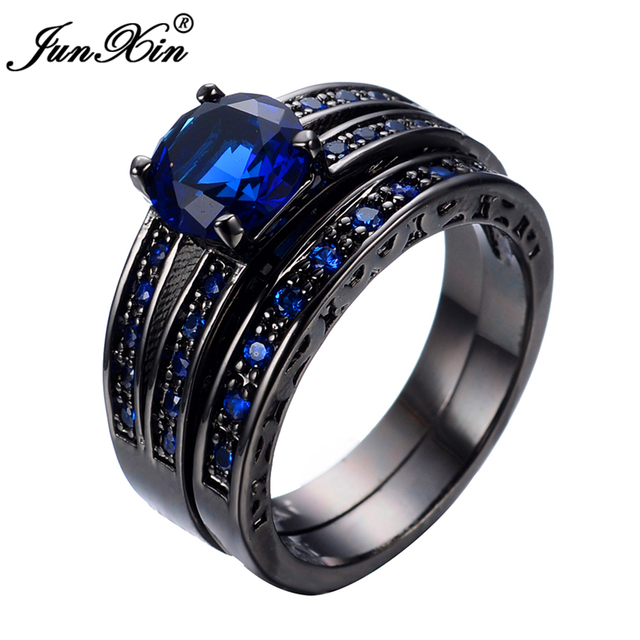 JUNXIN New Arrival Black Gold Filled Blue Jewelry Rings For Women and Men Wedding Engagement Ring Set Promotion