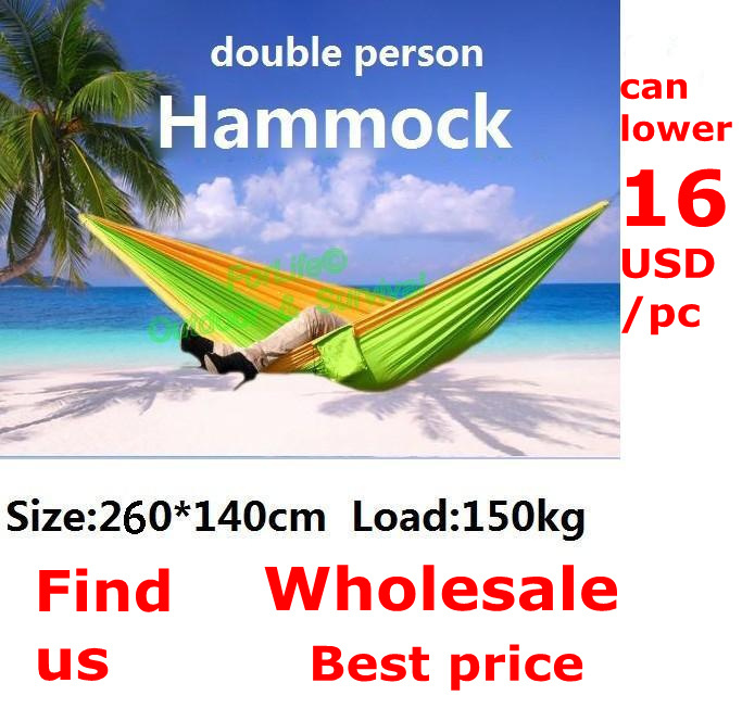 PSKOOK Outdoor Survival Camping Parachute Hammock Double Portable Garden Flyknit Hunting Leisure Hamac 260 140cm 1Set in Tents from Sports Entertainment