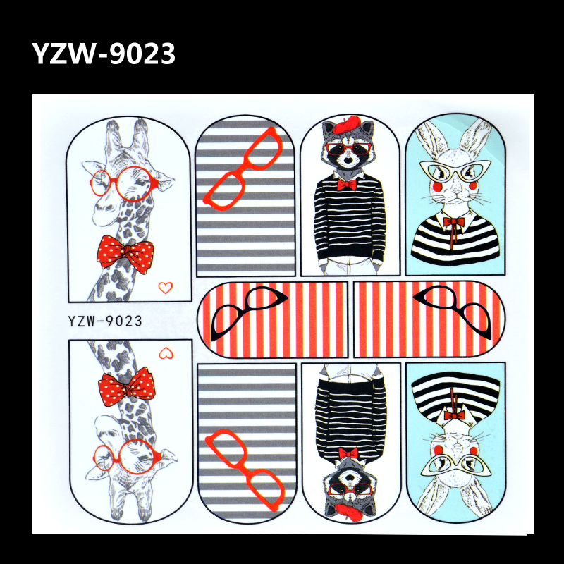 YZWLE 2017 New Nail Art Water Tattoo Decals Cute Rabbit Giraffe Pattern Full Wrap Water Transfer Nail Tips Stickers Decorations стоимость