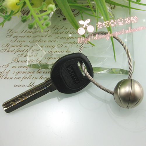 Sports series car steel wire keychain basketball football tennis ball rugby