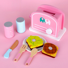 Childrens wooden toy kitchen simulation cooking puzzle game mini bread machine breakfast set boy girl gif