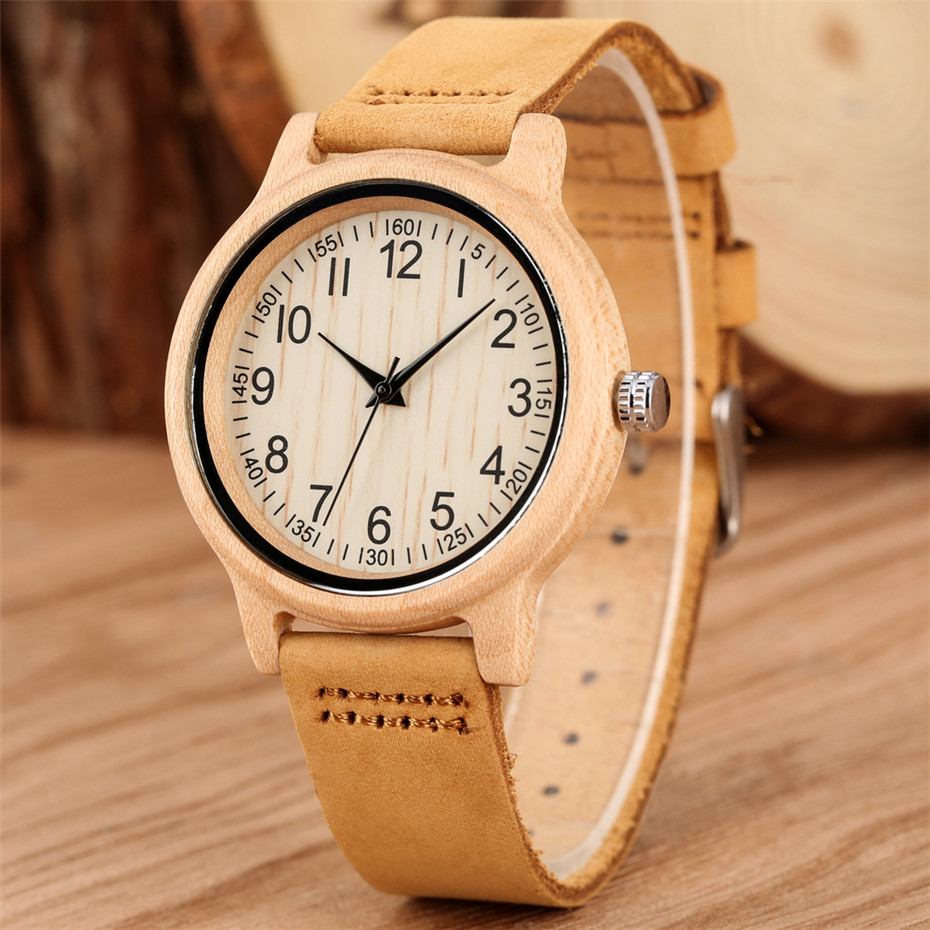 Trendy Arabic Numbers Display Dial Wood Watch Women Genuine Leather Quartz Timepiece Elegant Maple Wooden Female Clock New 2019(China)