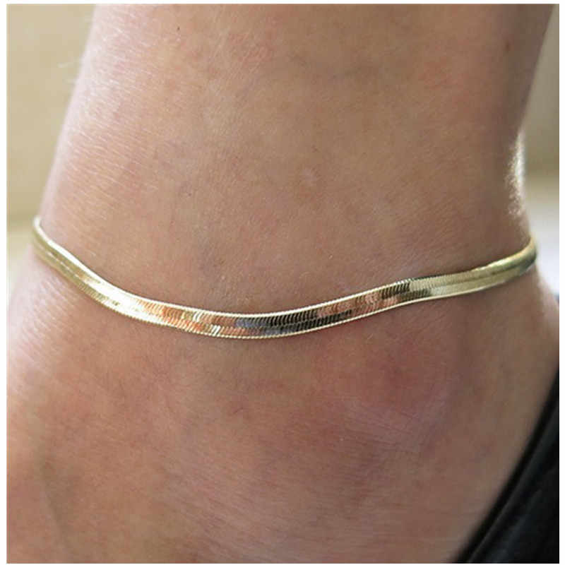 Woman Sexy Thin Metal Chain Anklets Scale / Upscale Beach Sandals Snake Bone Chain Bracelet Foot Jewelry Tobillera