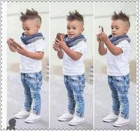 2016 Summer Fashion Hot Sales Children Boy S Handsome Clothing Sets Kids Top Jeans Pants Scarf