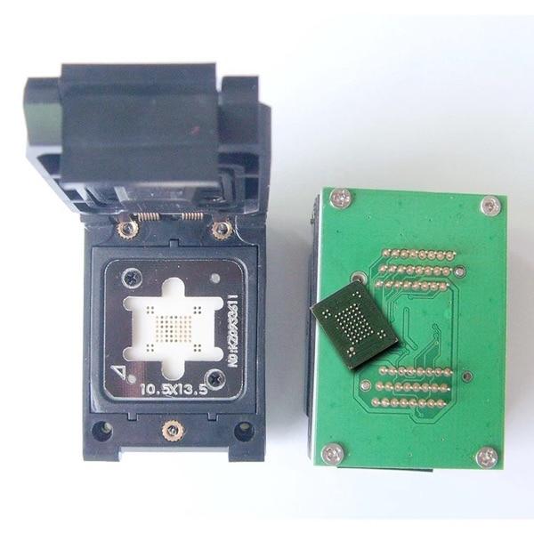 BGA63 0.8 MM IC programmeur adaptateur/BGA63 IC Test Socket/BGA63 à 48 brûler prise/BGA63 flip shrapnet IC Test socket10.5X13.5MM