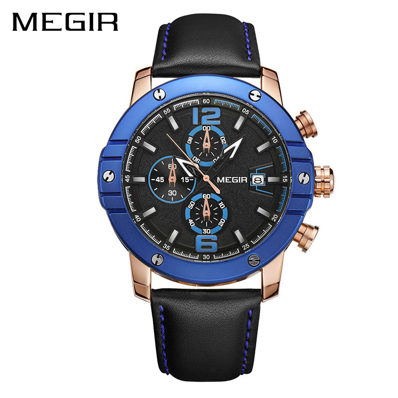 MEGIR Men Watch Relogio Masculino Top Brand Luxury Leather Military Watch Clock Men Quartz Watches Relojes Hombre 2017 Relogios v6 luxury brand beinuo quartz watches men leather watch outdoor casual wristwatch male clock relojes hombre relogio masculino