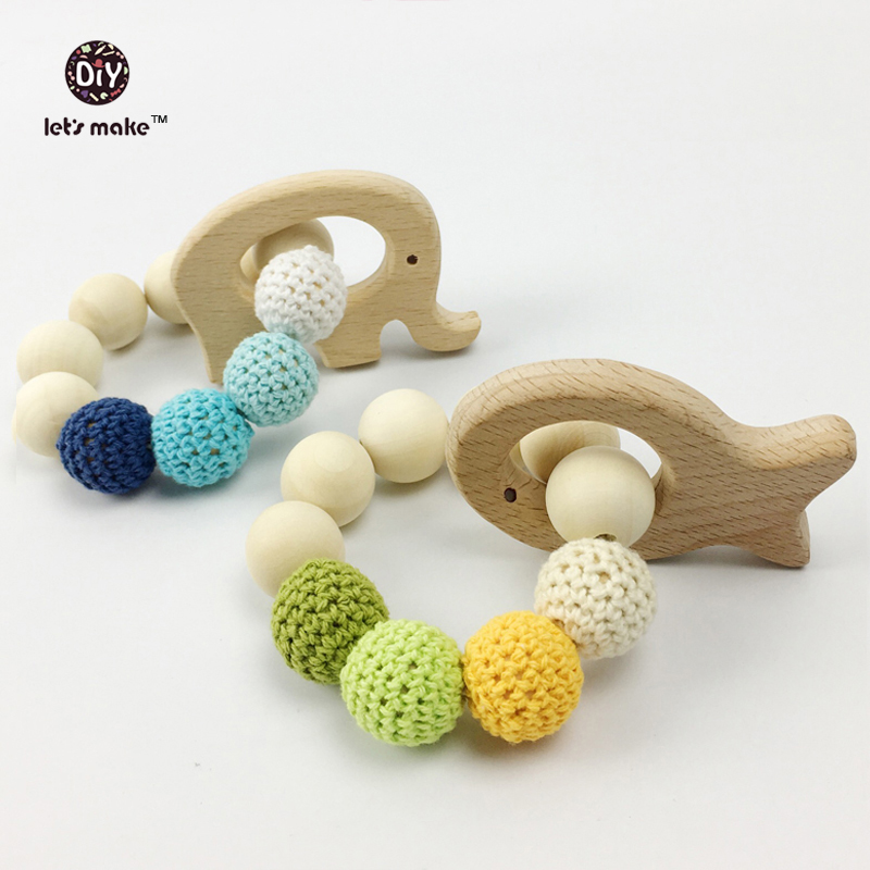 Let's Make Baby Teether Natural Wood Teething Ring Nursing Crochet Beads Wooden Fish/Elephant Baby Rattle Toy Organic Baby Toys