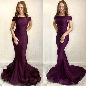 Cinderella Hot Purple Boat Neck Off The Shoulder Mermaid Spandex Prom Dresses Elegant Sweep Train Prom Dresses robe de soiree