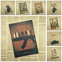 Classic Movie TRUE DETECTIVE Kraft Paper Poster Bar Cafe Vintage High quality Printing Drawing core Decorative