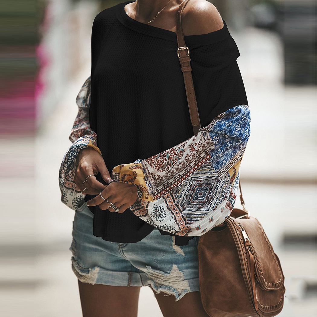 Fashion Women knitting Off Shoulder Patchwork Latern Sleeve Blouse Tops Boho Long Sleeves Casual Beach Loose Shirts Plus Size 3