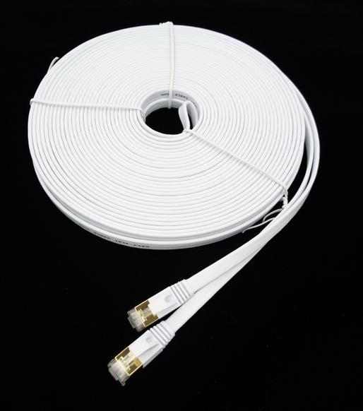 30 м Ethernet Cat7 Телевизор С Патч-Сетевой Кабель, экранированная (STP) с Разъемами Rj45 Snagless белый цвет