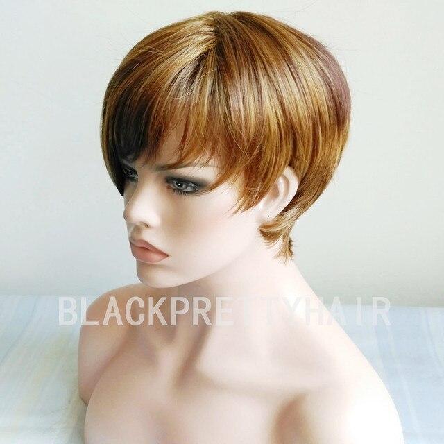 Cheap Short Pixie Cut Brown Mixed Blonde Bob Cut Wig Side Bangs