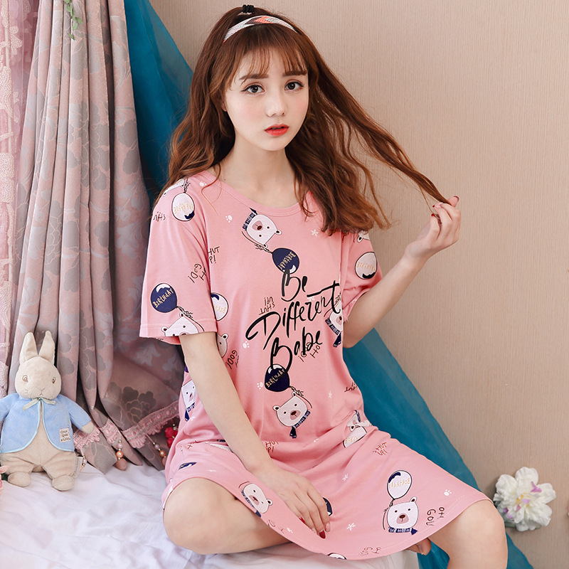 2018 Summer Fashion Pink Nightgown Nightdress Sweet Print Bear Homewear Sleepwear Cotton Short Sleeve Loose pyjamas D85905