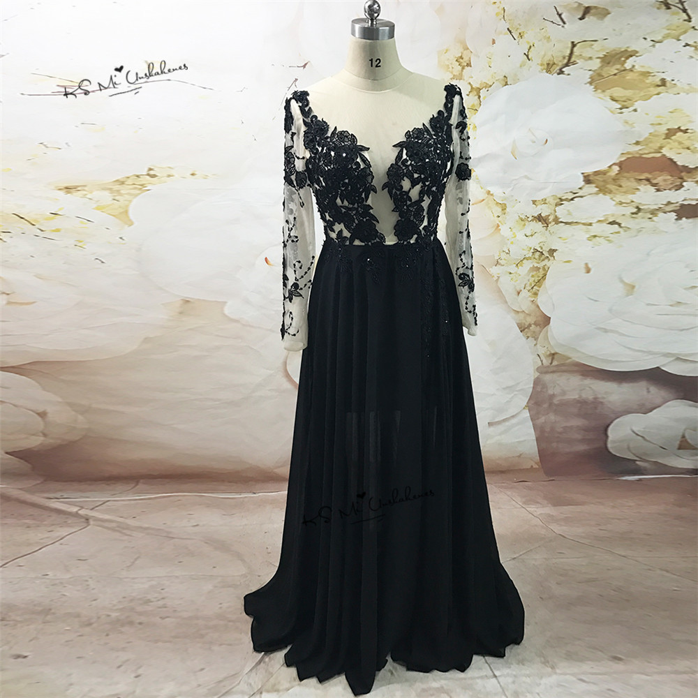 Robe de Soiree Courte Sexy Black   Evening     Dresses   Long Arabic   Evening   Gowns Lace Long Sleeve Prom   Dress   2017 Split Side Chiffon