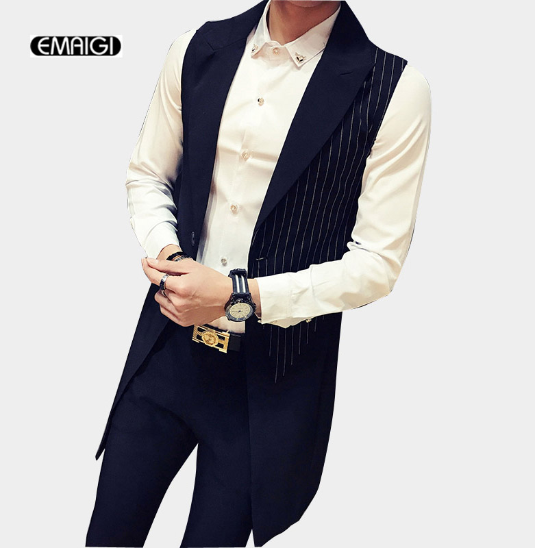 Male Sleeveless Trench Coat Stripe Splice Vest Men Fashion Slim Fit Waistcoat Trench Suit Jacket