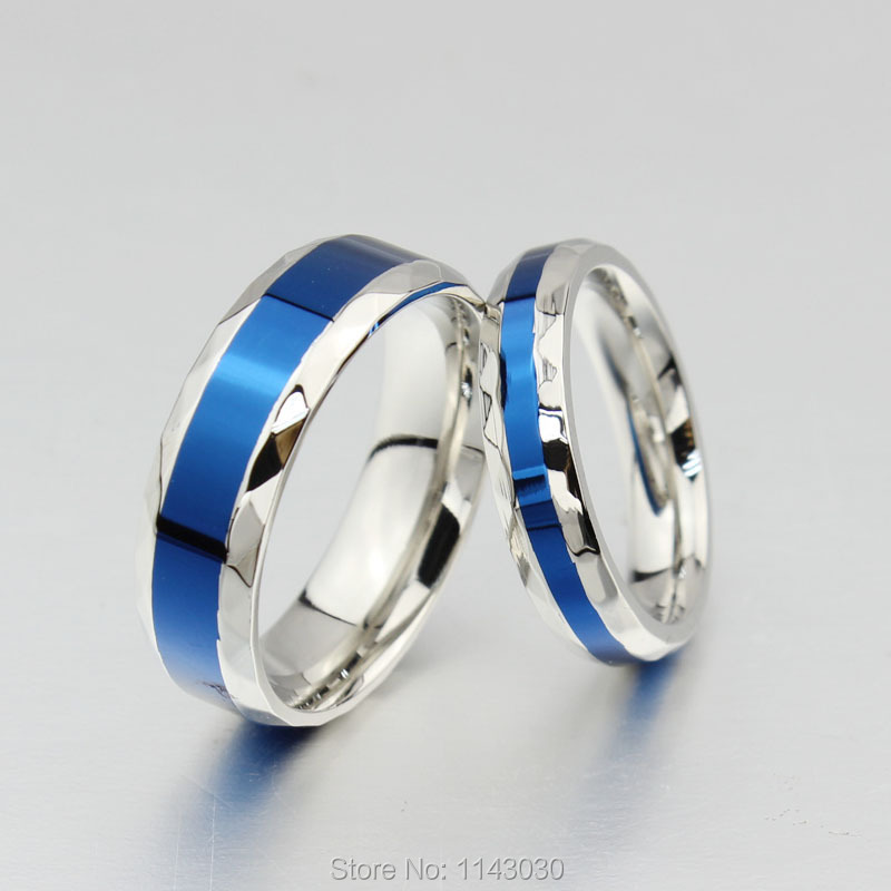 5d9f836f28 Blue Titanium Couple Rings Women Wedding ring Men Promise Ring Woman  Wedding Bands Free Engraving