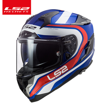 LS2 FF327 Fiberglass Motorcycle Helmet Double Lens with Shield Sunny Interior Full Racing Motorcycle Helmet Film Anti-Fog Pinloc