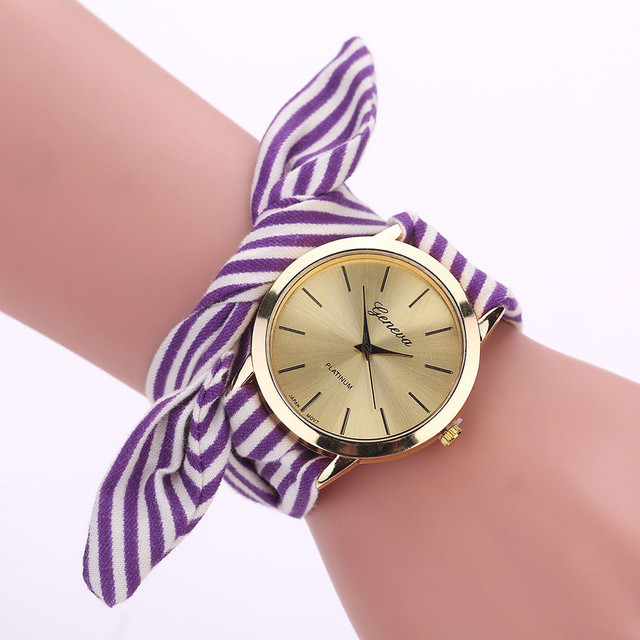Fashion Watches Women Stripe Floral Cloth Quartz Dial Women Bracelet Watches Wri