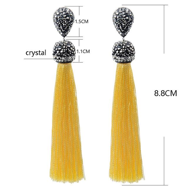 Crystal Long Silk Tassel Earrings