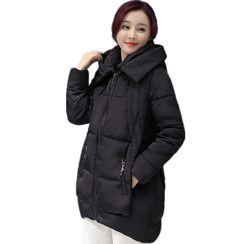 Large size women winter new 2017  version of the long coat female fat mm thickened thin casual hooded cotton 2017 korean version of the thickening of female workers in the long coat lambskin coat winter coat large size coat