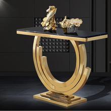 Мраморный стол для крыльца из нержавеющей стали, простой современный титановый Золотой скандинавский настенный столик, украшение для крыльца, шкафа, узкий барный стол