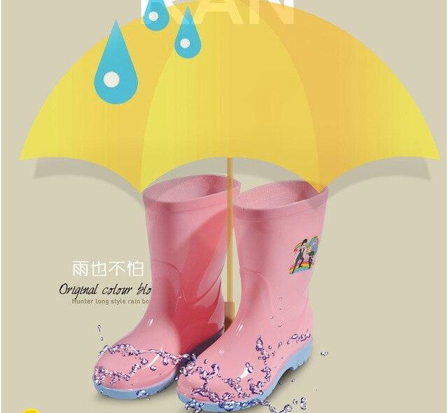 Дождь сапоги дети девочка мальчик детей резиновая ребенка плюс бархат термальной водой обувь желе скольжению обувь дождя сапоги