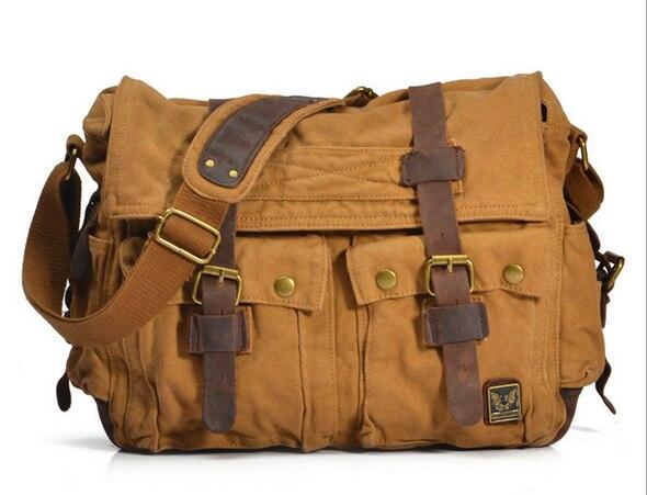 где купить Men Vintage Canvas Italian Military Crazy Horse Leather Shoulder Messager Bag Casual Large Size For 15inch Laptop по лучшей цене