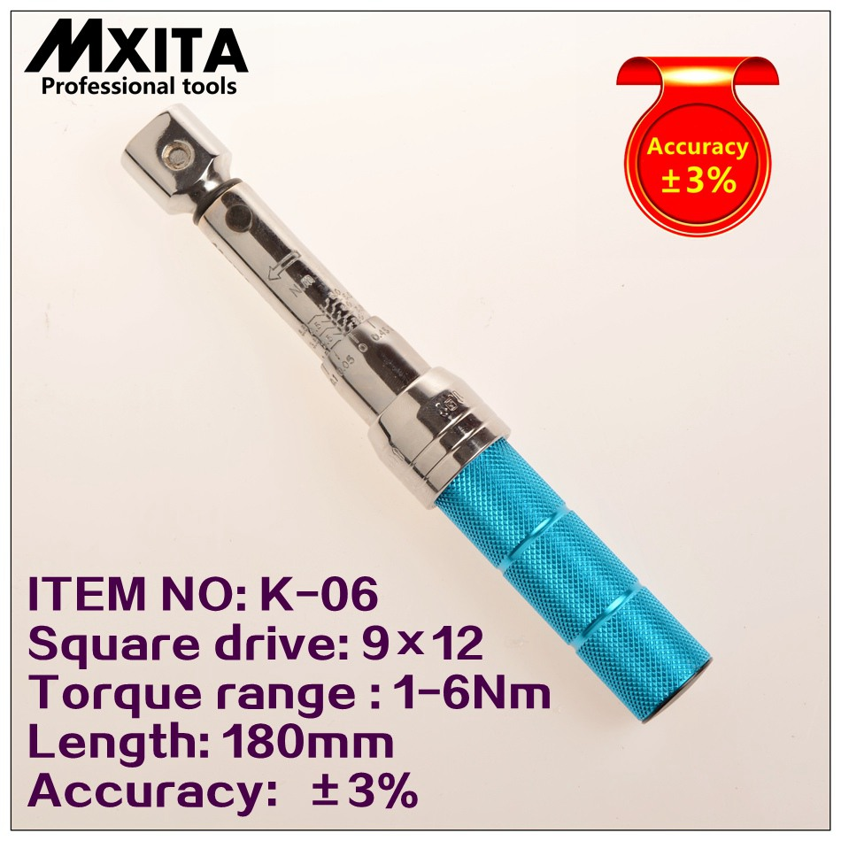 MXITA 9X12 1-6Nm Accuracy 3% High precision professional Adjustable Torque Wrench car Spanner  car Bicycle repair hand tools set mxita accuracy 3% 1 2 5 60nm high precision professional adjustable torque wrench car spanner car bicycle repair hand tools set
