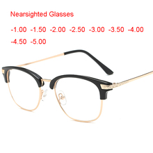 aef7a35ed Near Short Sighted Distance Glasses for Myopia Vintage Retro Classic Half  Frame Horn Rimmed Clear Lens