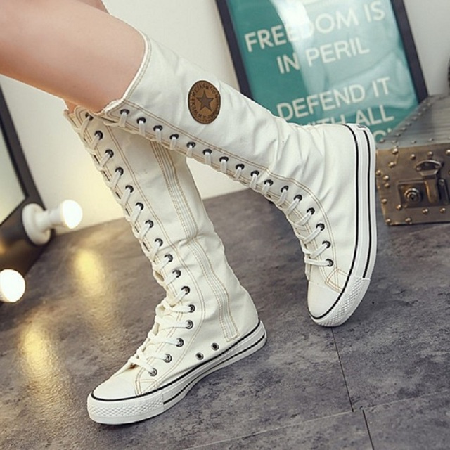 bdcd35c377609d Women Boots 2018 Fashion Canvas Lace Up Mid-Calf Flats Boots Hip Hop Casual Shoes  Women Tall Punk Gothic Autumn Boots 7h38